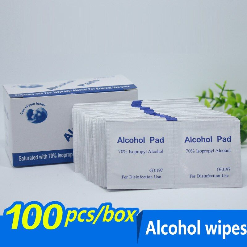 100pcs/lot Alcohol Prep Swap Pad Wet Wipe for Antiseptic Skin Cleaning Care Jewelry Mobile Phone Clean