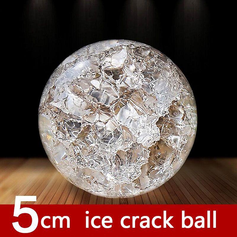 Boule de glace en cristal de 50mm billes de verre de Quartz sphère magique ornements Fengshui fontaine d'eau boule de bonsaï décor à la maison ornements