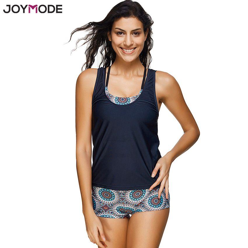 JOYMODE Geometric Printed Tankini With Boyshort Swimsuit Set Plus Size 3 pieces Swimwear Women Bikinis Black Bathing Suits