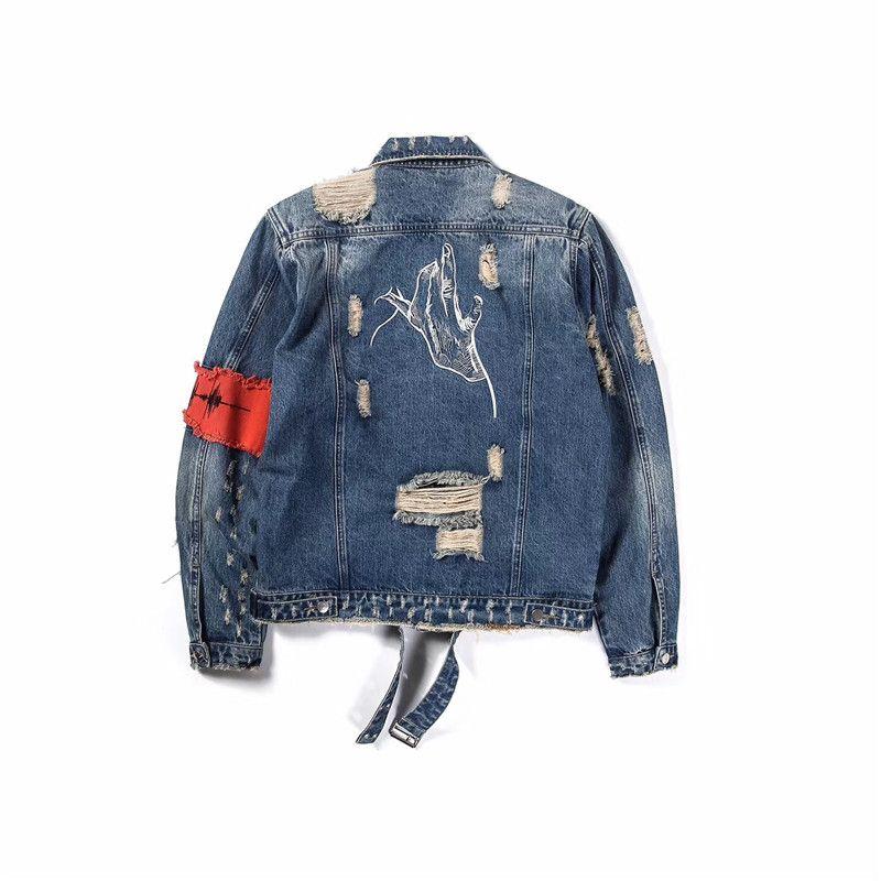 Gesture Embroidery Front Zipper Destroyed Jeans Jacket Men High Street Ripped Denim Jackets Men's Jacket