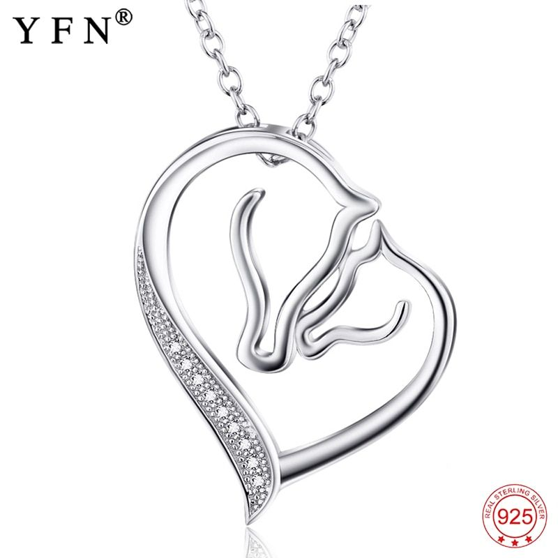 925 Sterling Silver Necklace Jewelry Collier Crystal Heart Horse Head <font><b>Pendants</b></font> Necklaces Fashion Women jewelry Gifts GNX0486