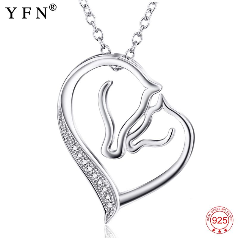 925 Sterling Silver Necklace Jewelry Collier Crystal <font><b>Heart</b></font> Horse Head Pendants Necklaces Fashion Women jewelry Gifts GNX0486