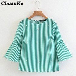2018 New women elegant pearls beading striped shirt flare sleeve O neck Blouses ladies summer brand casual tops Tees blusas