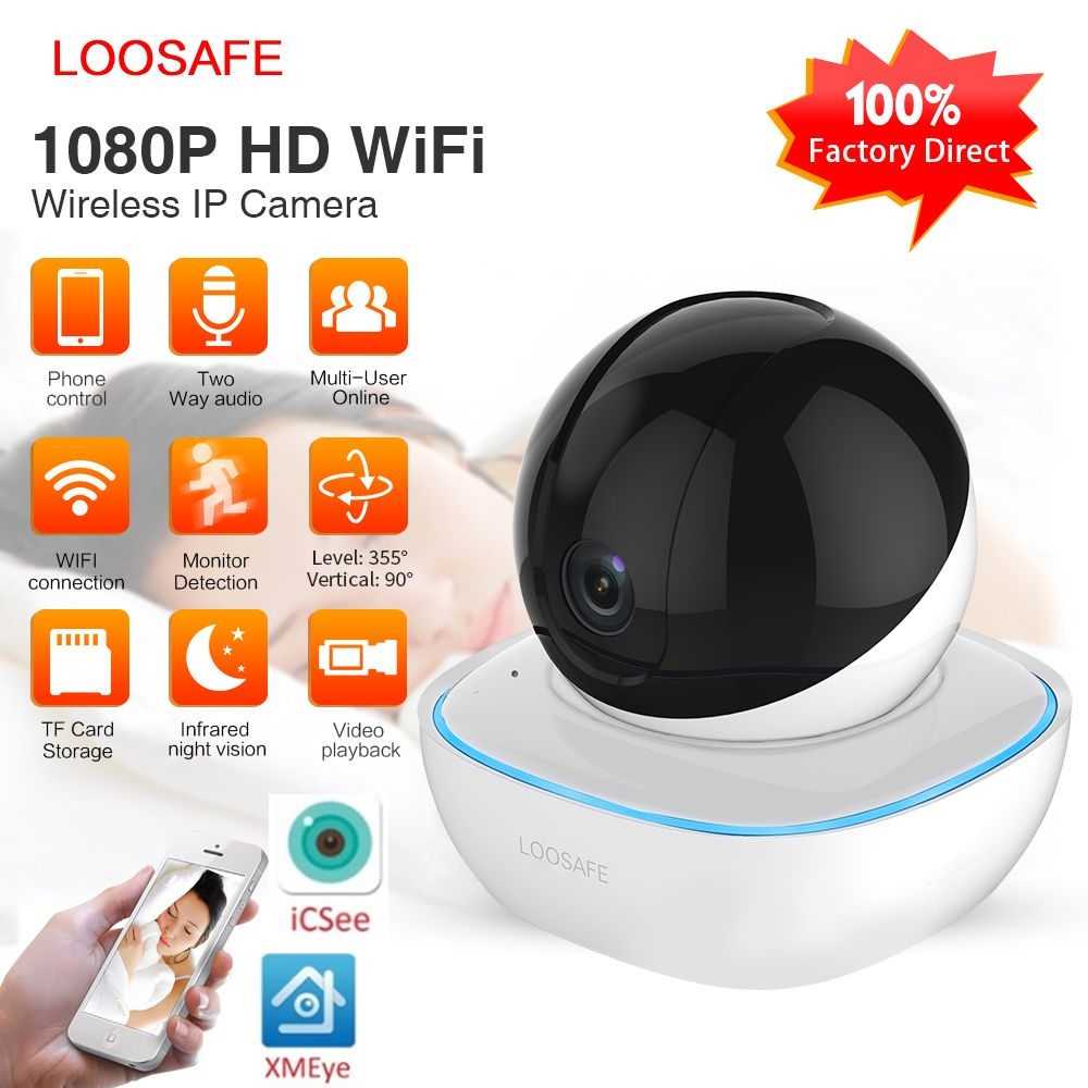 LOOSAFE wifi sécurité sans fil IP caméra 1080P sécurité à domicile 2 voies Audio alarme IR Vision nocturne P2P Surveillance CCTV Wifi caméra