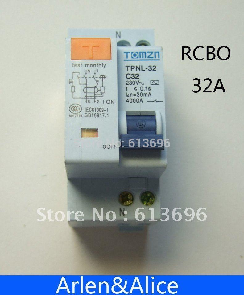 DPNL 1 P + N 32A 230 V ~ 50 HZ/60 HZ fehlerstromschutzschalter mit über strom und Leck RCBO