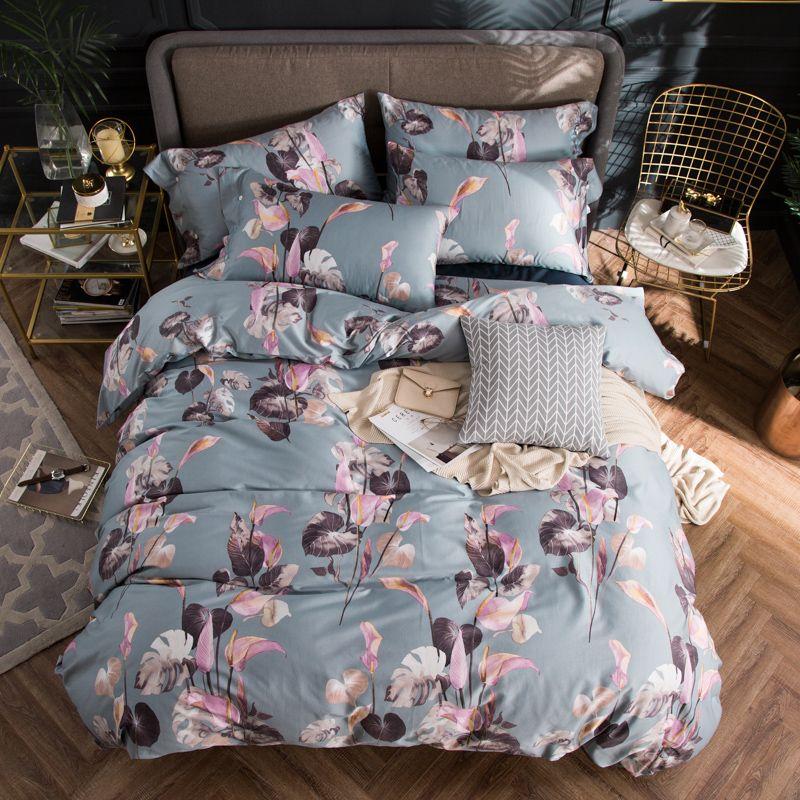 2018 Pink Floral Light Grey Bedding Set 4Pcs Queen King Size Egyptian Cotton Fabric Duvet Cover Flat Sheet Pillow Cases
