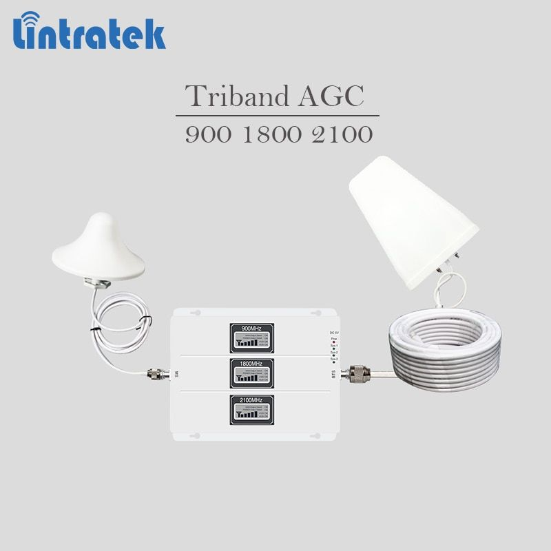Cellular signal booster 2G 3G 4G GSM UMTS LTE signal repeater 900 1800 2100 tri-band cellphone amplifier AGC 65dBi full kit #8