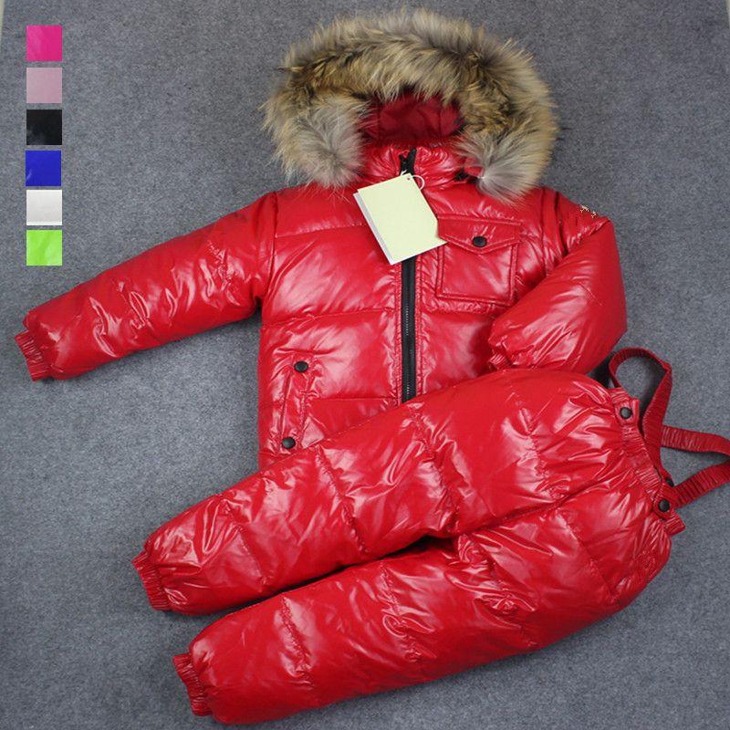 Русская зима комбинезоны 2018 для мальчиков зимняя детская одежда для девочек пуховики комбинезоны комплект одежды куртка, детская одежда