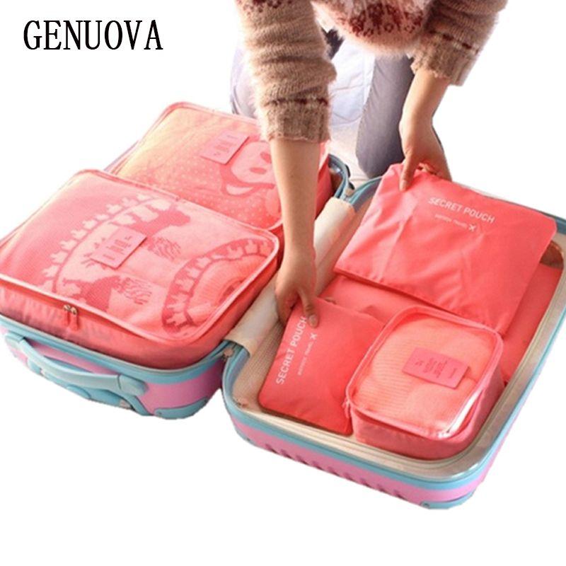 6 pièces un ensemble bagage Nylon emballage Cube voyage sacs système Durable grande capacité de unisexe vêtements tri organiser sac
