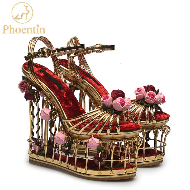 Phoentin gold blume sandalen frauen super high heel 16cm plattform hochzeit schuhe knöchel schnalle luxus partei schuhe frau FT337