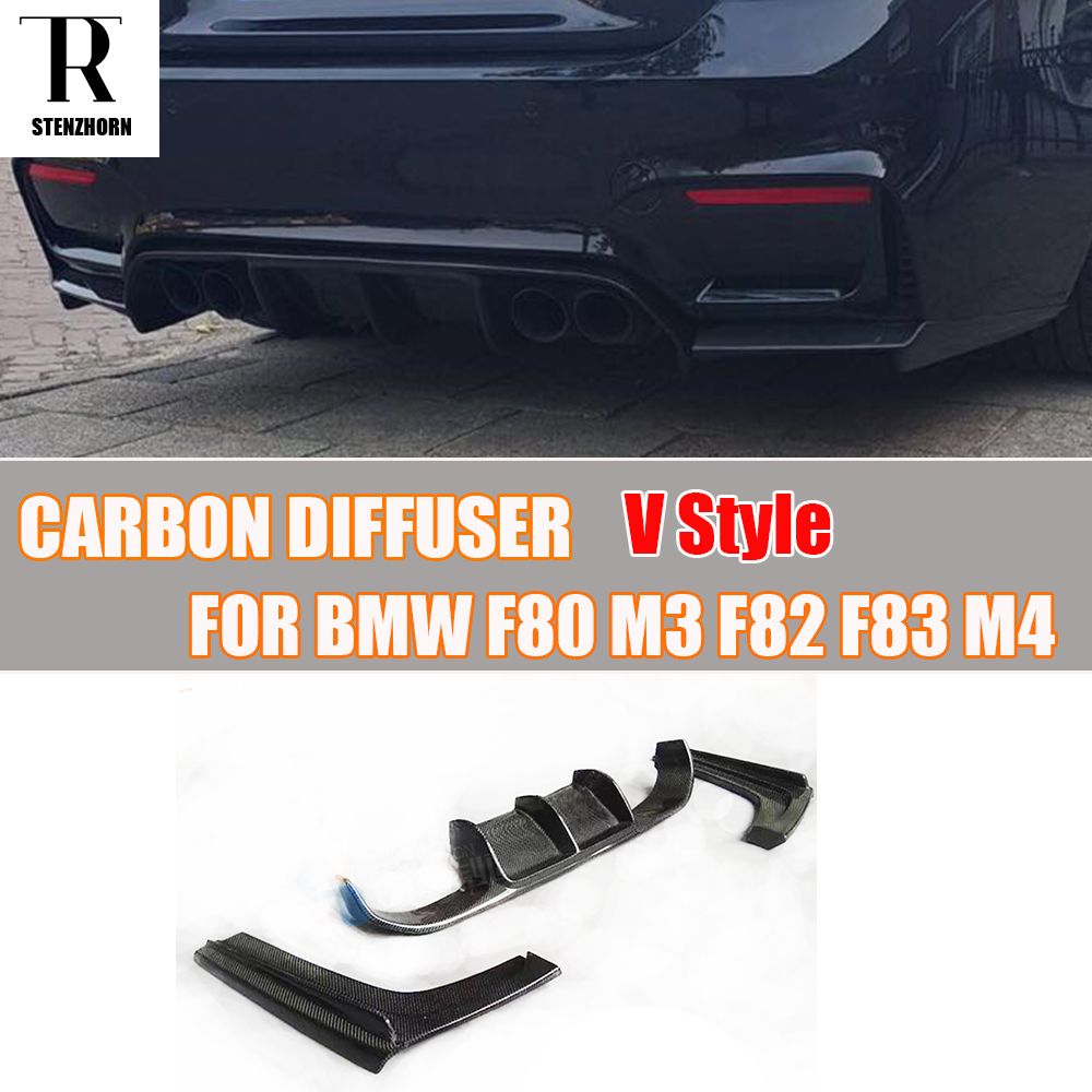 M3 M4 Carbon Fiber Rear Bumper Diffuser Spoiler with Splitter for BMW F80 M3 F82 M4 Coupe F83 M4 Convertible 2012 - 2017 3PCS