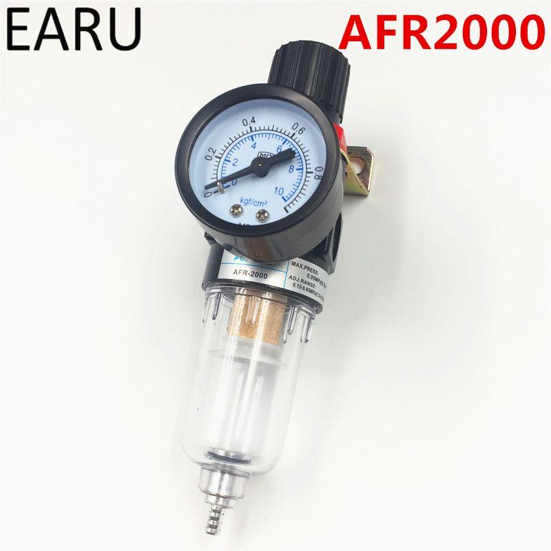 1 pc AFR-2000 Pneumatique Filtre À Air Unité de Traitement Régulateur de Pression Compresseur Soupape de Réduction de Séparation Huile-Eau AFR2000 Jauge