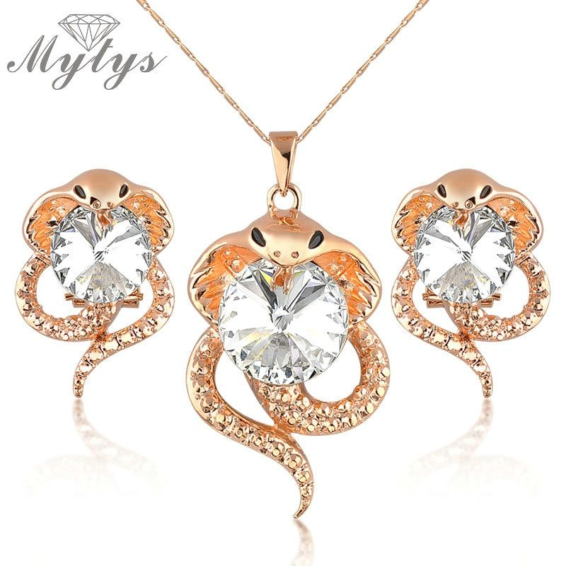 Mytys Snake Jewelry Sets Pendant Snake Necklace and Snake Earrings GP N1341