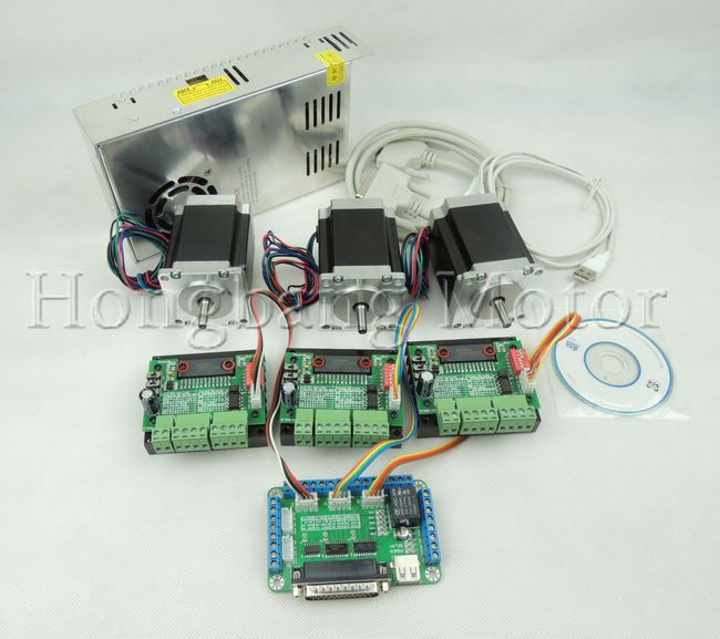 CNC Router Kit 3 Axis, 3pcs TB6560 1 axis stepper motor driver +one breakout board +3pcs Nema23 270 Oz-in motor+one power supply