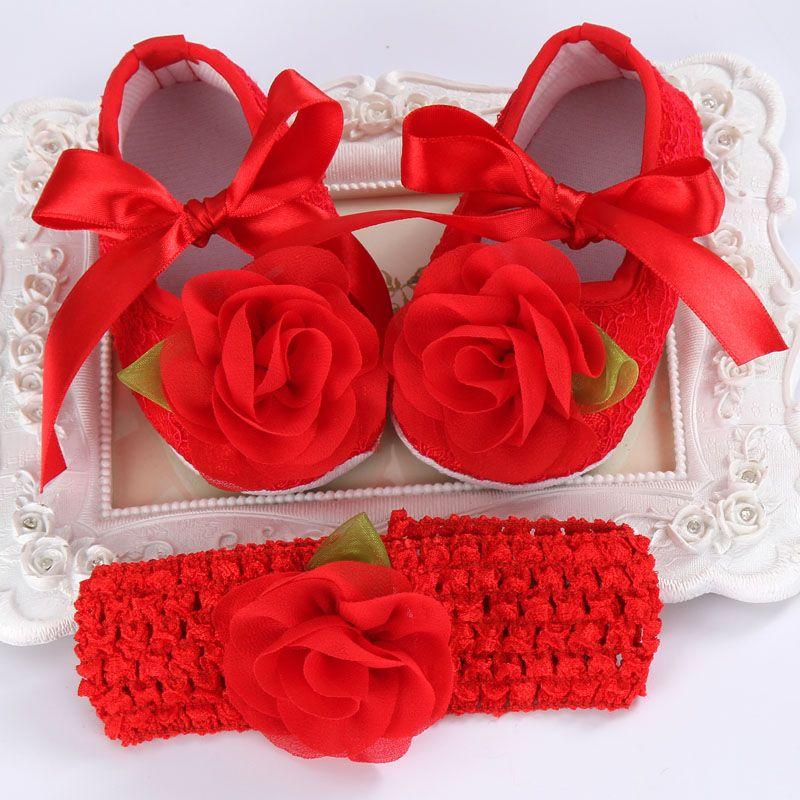 2016 Party Girl Bautismo Bebé Sapato Bebe Menina Venda Del Ganchillo, Zapatos Recién Nacido Accesorios Del Pelo Shabby Flor Zapatos Bebe