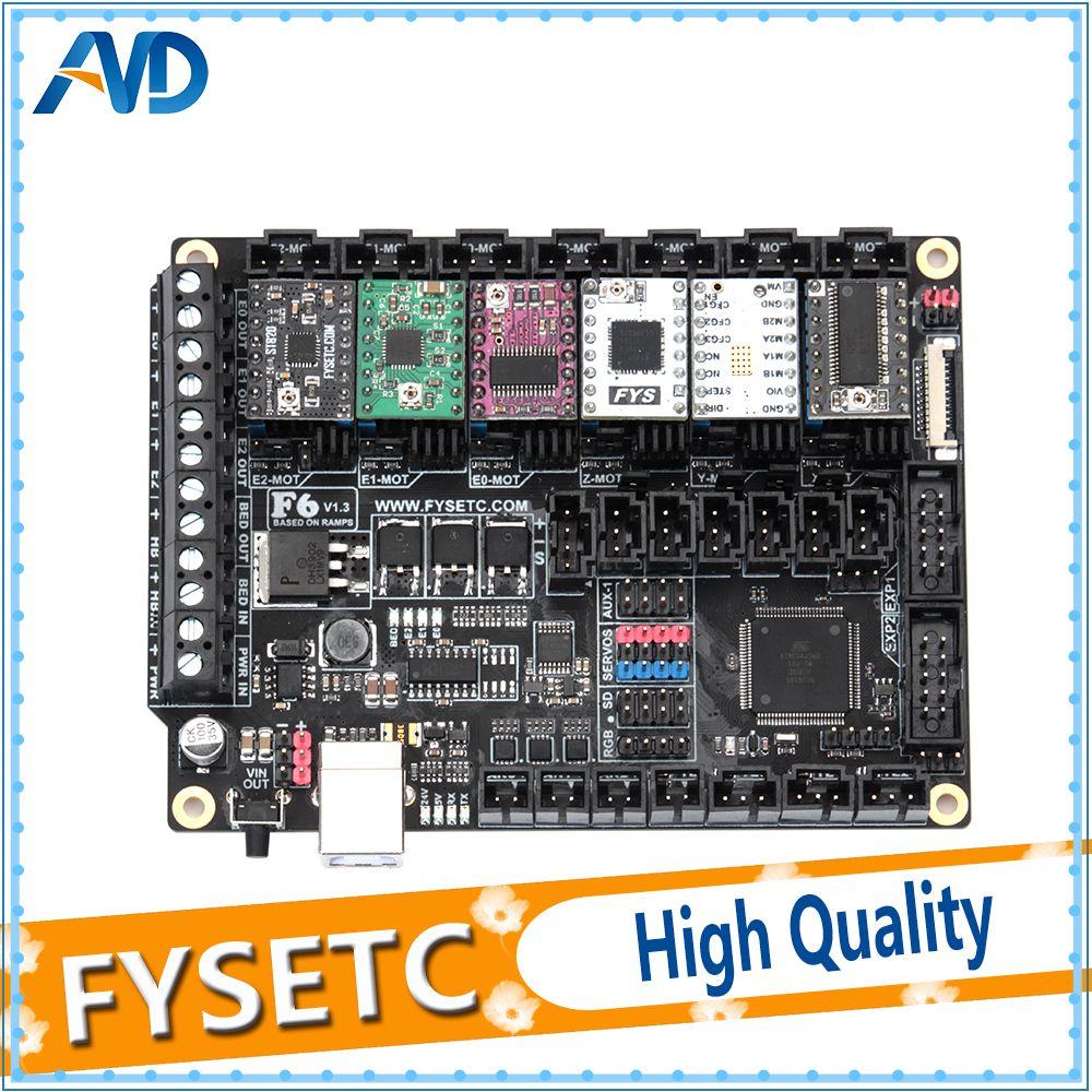 FYSETC F6 V1.3 Board ALL-in-one Electronics Solution Mainboard + 6pcs TMC2100/TMC2208v1.2/TMC2130v1.2/DRV8825/S109/A4988/ST820