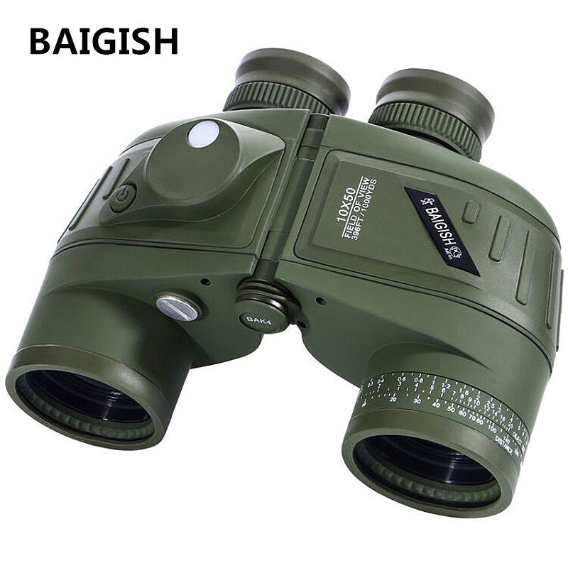 BAIGISH Binoculars Powerful Russian Military 10x50 Marine Telescope Digital Compass Low-Light Level Night Vision Binocular