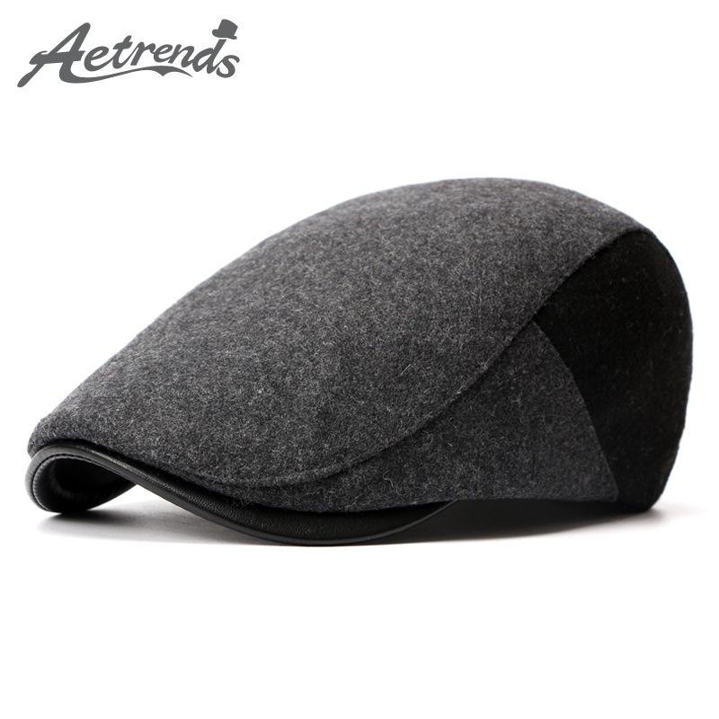 [AETRENDS] chapeaux béret en laine mélangée à chevrons pour hommes casquette plate Ivy Gatsby gavroche Cabbie chapeau de conduite Z-3976