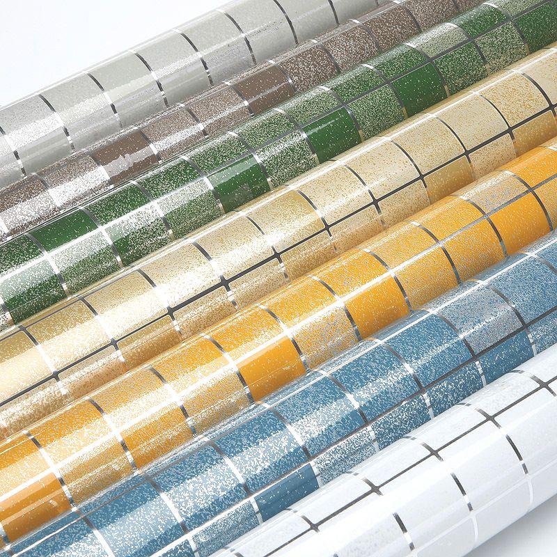 10 Mètres En Aluminium Feuille Auto-adhésif Mosaïque Autocollants Cuisine Anti Huile Papier Peint Vinyle Haute Température Étanche Wall Sticker