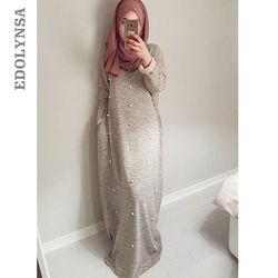 Ramadan Abaya 2019 Baju Muslim Abu-abu Manik-manik Arab Saudi Panjang Maroko Kaftan Islam Pakaian Turki Pakaian Wanita # D609