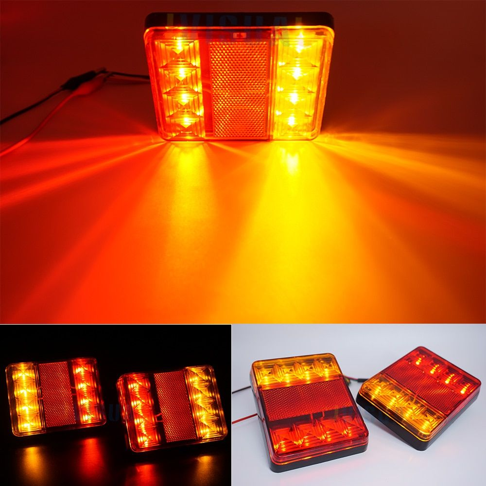 2x 12V Waterproof Durable Car Truck LED Rear Tail Light Warning Lights Rear Lamp for Trailer Caravans UTE Campers ATV Boats