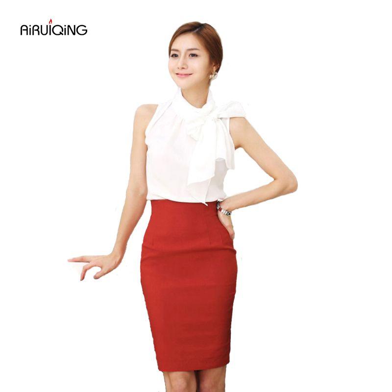 Jupe crayon femmes 2019 élastique taille haute Slim hanches rouge noir formel Saias Feminino Lady OL bureau moulante jupes grande taille