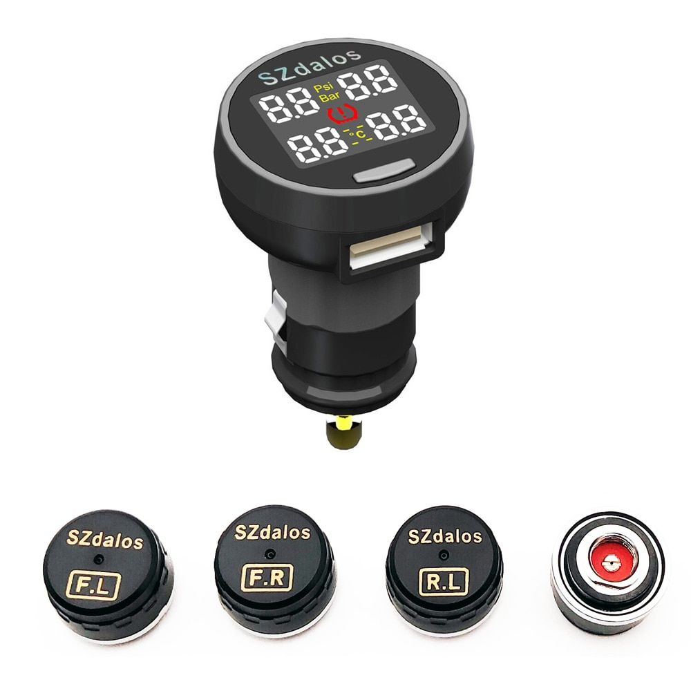 2018 plus récent szdalos TP200 sans fil tpms système de surveillance de pression des pneus tmps avec capteur externe de chargeur de cigarette
