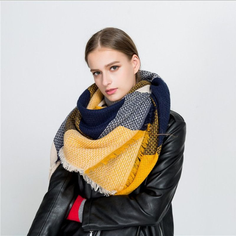 2017 Winter Luxury Brand Scarf For Women Stitching Plaid Cashmere Shawl Thick Warm Blanket Scarves Wraps Christmas Gift Dropship