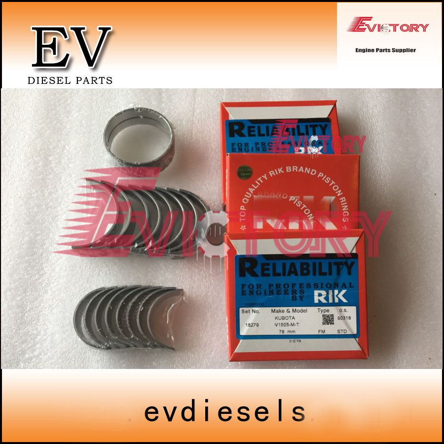 D1105 main crankshaft bearing+con rod bearing kit +D1105 piston ring set For Kubota U-20-3S excavator hiatch EX15