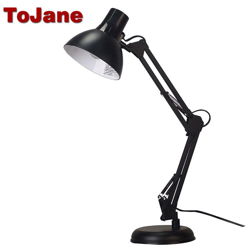 TG603 Tojane Lámpara de Escritorio Flexible de Swing Largo Brazo Llevó La Lámpara de Escritorio de Metal Arquitecto Plegable Ajustable de Doble Brazo de Mesa Led lámpara de Lectura