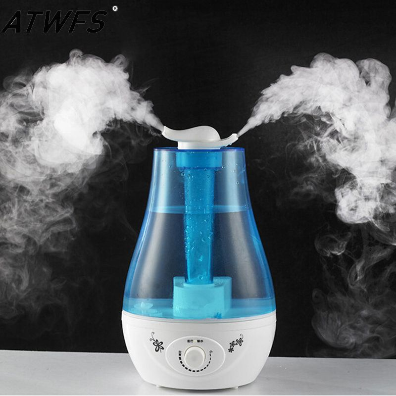 ATWFS 3L Air Humidifier Ultrasonic Aroma Diffuser Humidifier for home Essential Oil Diffuser Mist Maker Fogger LED Lamp
