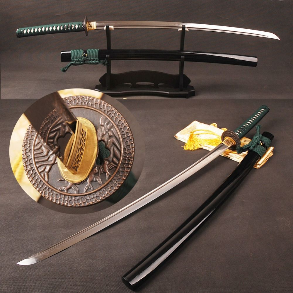 Full Tang Japanischen Samurai Schwert Katana Damaskus Folded Steel Lehm Gehärtetem Klinge Kann Baum Geschnitten Echt Hamon Sharp Bereit für schlacht