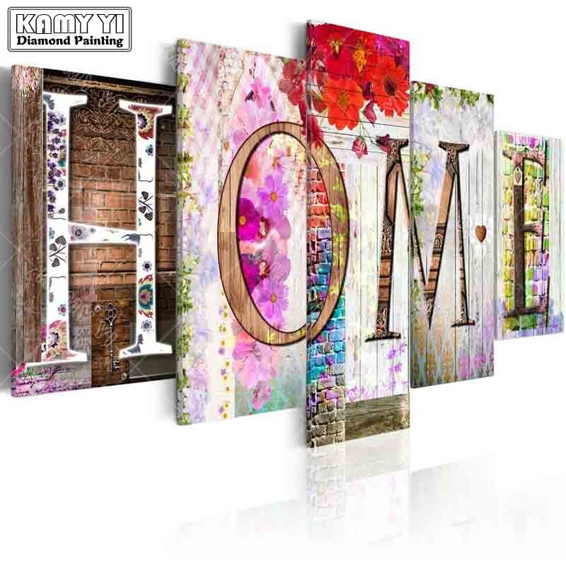 full square drill Diamond embroidery home Flowers wall 5D DIY diamond painting Cross Stitch Multi-picture home decoration