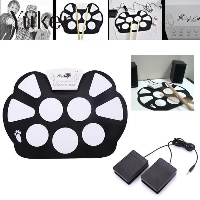 Yuker Foldable Portable Roller Up USB Electronic Drum Kit Electric Musical Practice Instrument