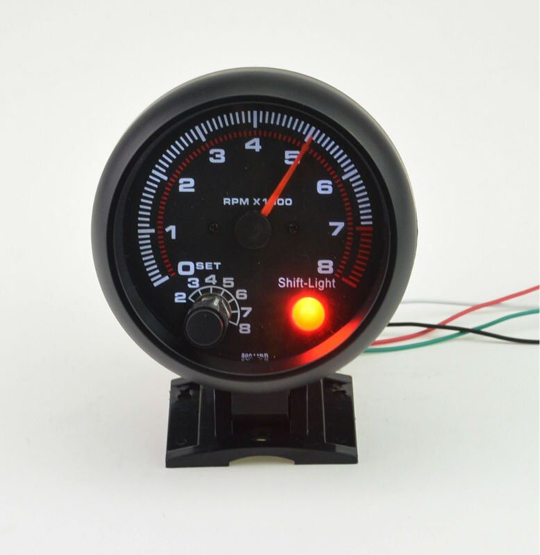 3.75inch (95.25mm) Black shell white Backlight LED Auto Tachometer gauge 0-8000 RPM  Warning function Free shipping