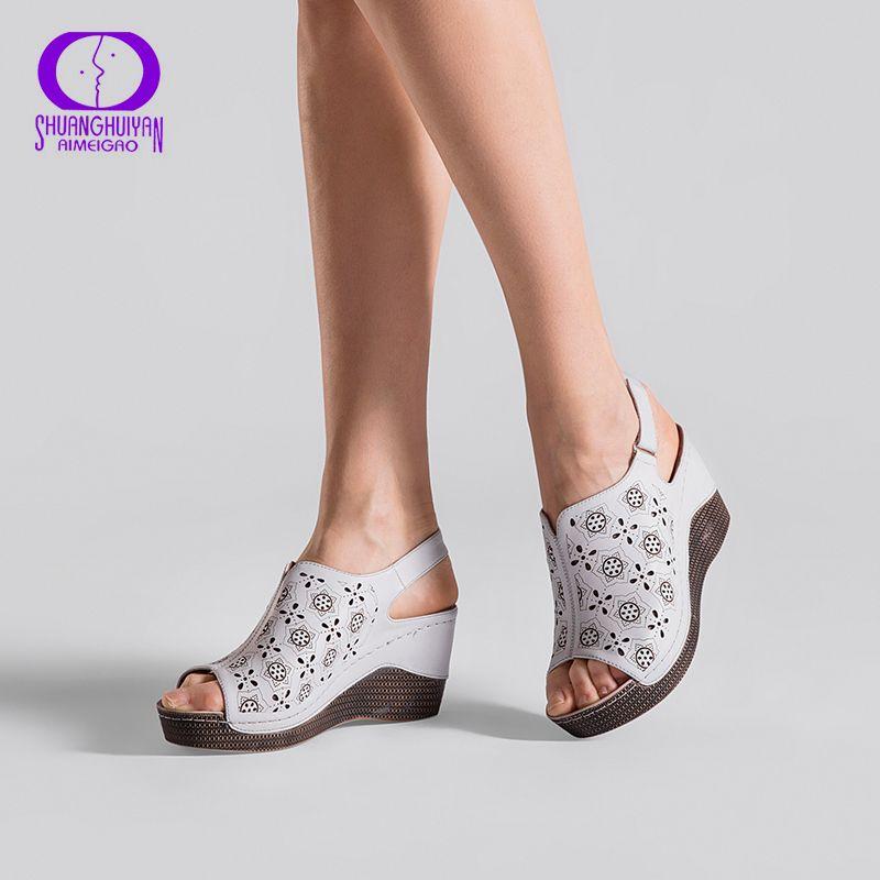 AIMEIGAO 2018 New Summer Wedge Heels Women Sandals Open Toe <font><b>Fish</b></font> Head Platform Shoes High Heels Slingbacks Women Shoes