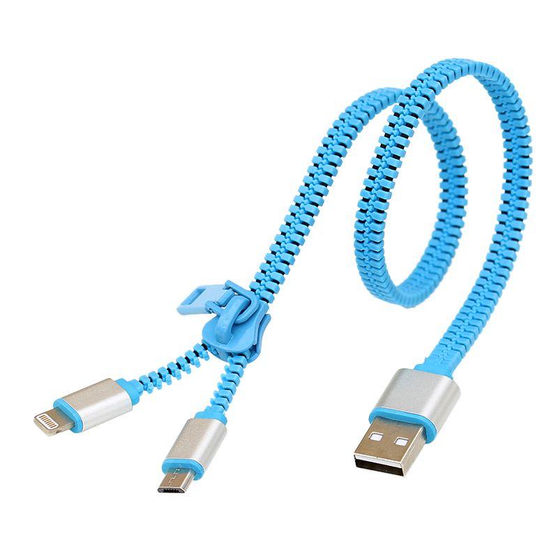Reißverschluss 2 in 1 Datumsgrenze Usb-daten-synchronisierungs-aufladeeinheits-kabel