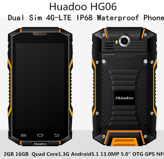 4G-LTE Huadoo HG06 Dual Sim IP68 Teléfono Impermeable 2 GB 16 GB Quad Core1.3Ghz Android5.1 13.0MP 5.0