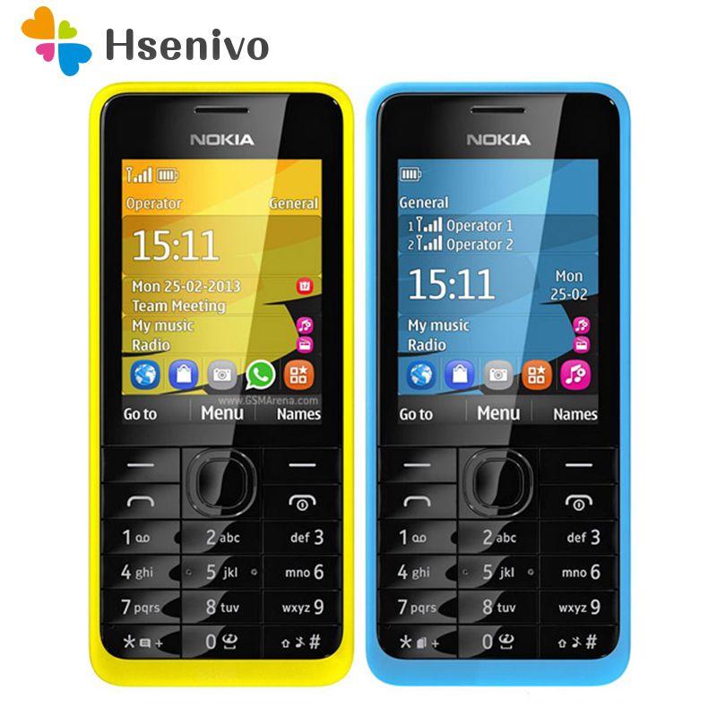 301 Original Nokia 301 Unlocked WCDMA 2.4`` Dual SIM Cards 3.2MP QWERTY Keyboard Refurbished Mobile Phone Free Shipping