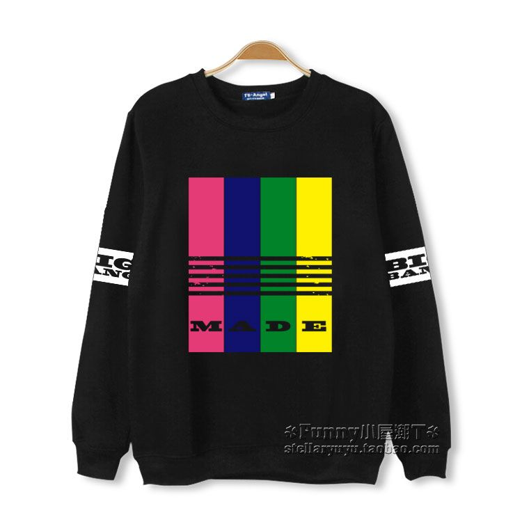 Kpop bigbang made color stripes printing o neck sweatshirt for men women fashion pullover hoodie vips fleece moletom