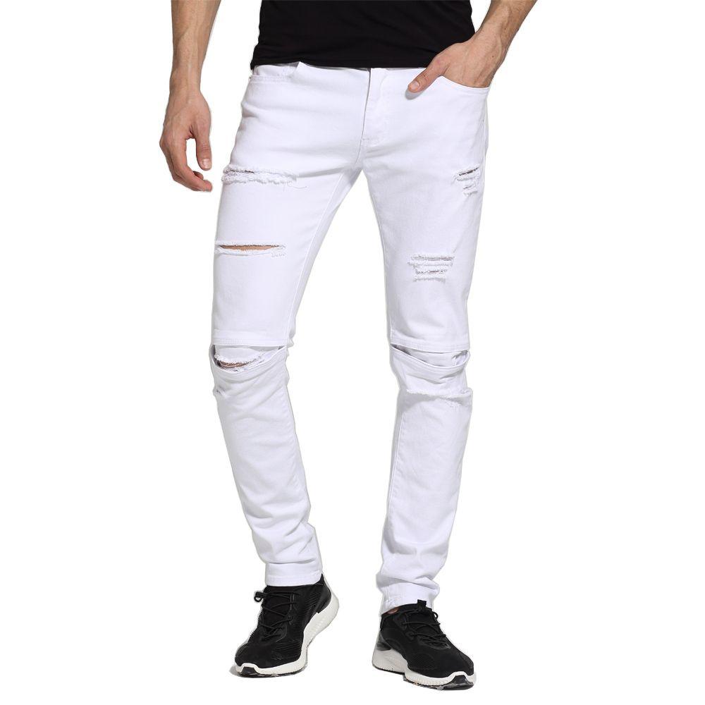 Для мужчин белый Джинсы для женщин модные Дизайн Slim Fit Повседневное узкие Рваные джинсы для Для мужчин h1704