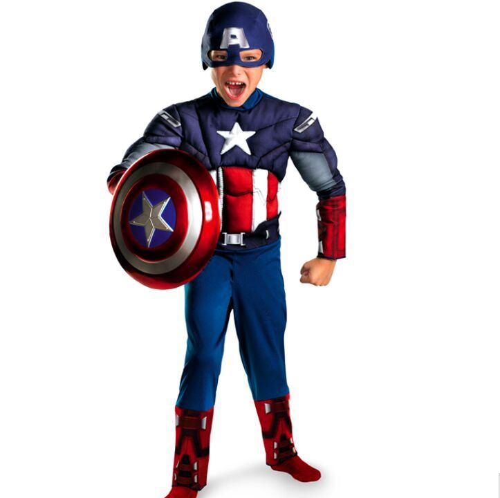 Детей Мстители Капитан Америка Мышцы костюм Disfraces Хэллоуин супергероя для мальчиков подарок на день рождения Косплей нарядное платье