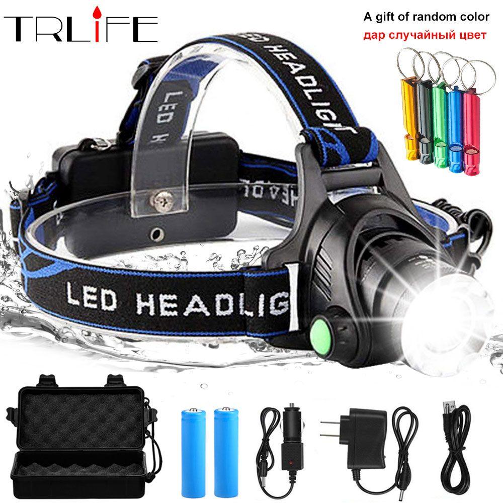 LED Headlight 10000lum Led Headlamp V6/L2/T6 Zoom Headlight Torch Flashlight Head lamp use 2*18650 battery by Fishing add a gift