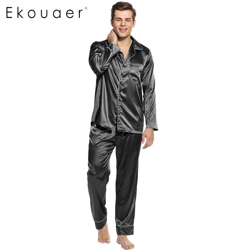Ekouaer Hombres Gira el Collar Abajo camisa de Dormir Homewear Pijamas set de Manga Larga ropa de Dormir de Poliéster Satén Pijamas Tamaño Sml XL