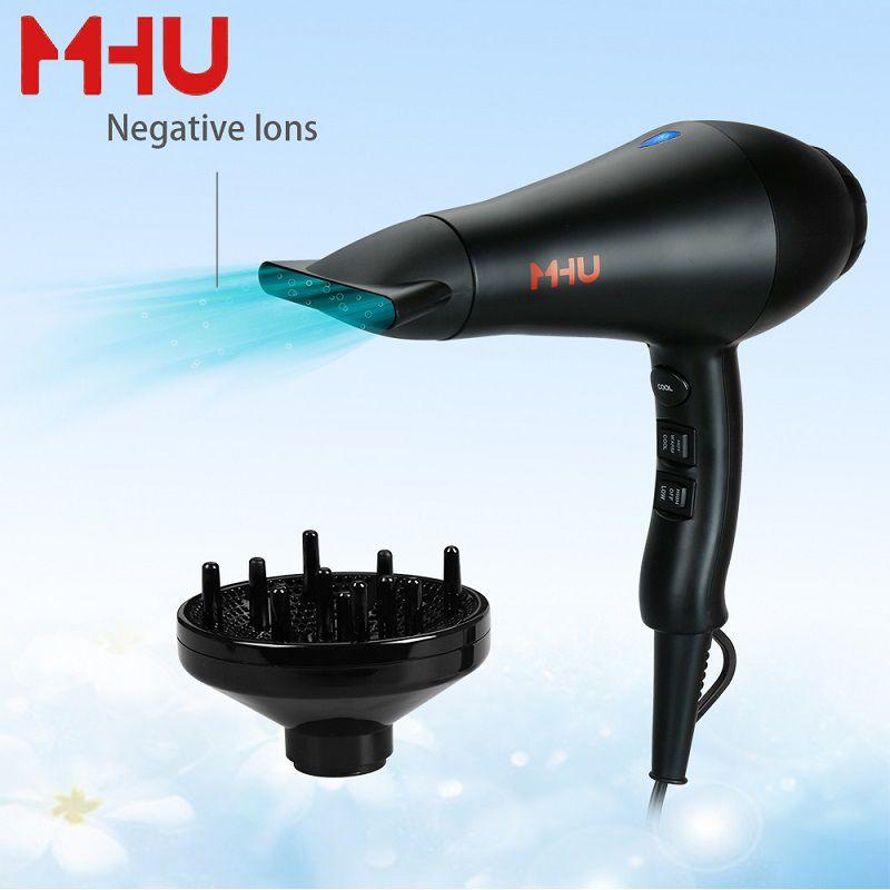 MHU Hair Dryer Professional Ceramic Tourmaline Blow Dryer Salon Infrared Negative Ions  AC Motor Black  Valentines Gift