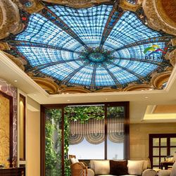 SV-1212 church dome ceiling printing stretch ceiling film with led strip for lobby ornament and living room decoration