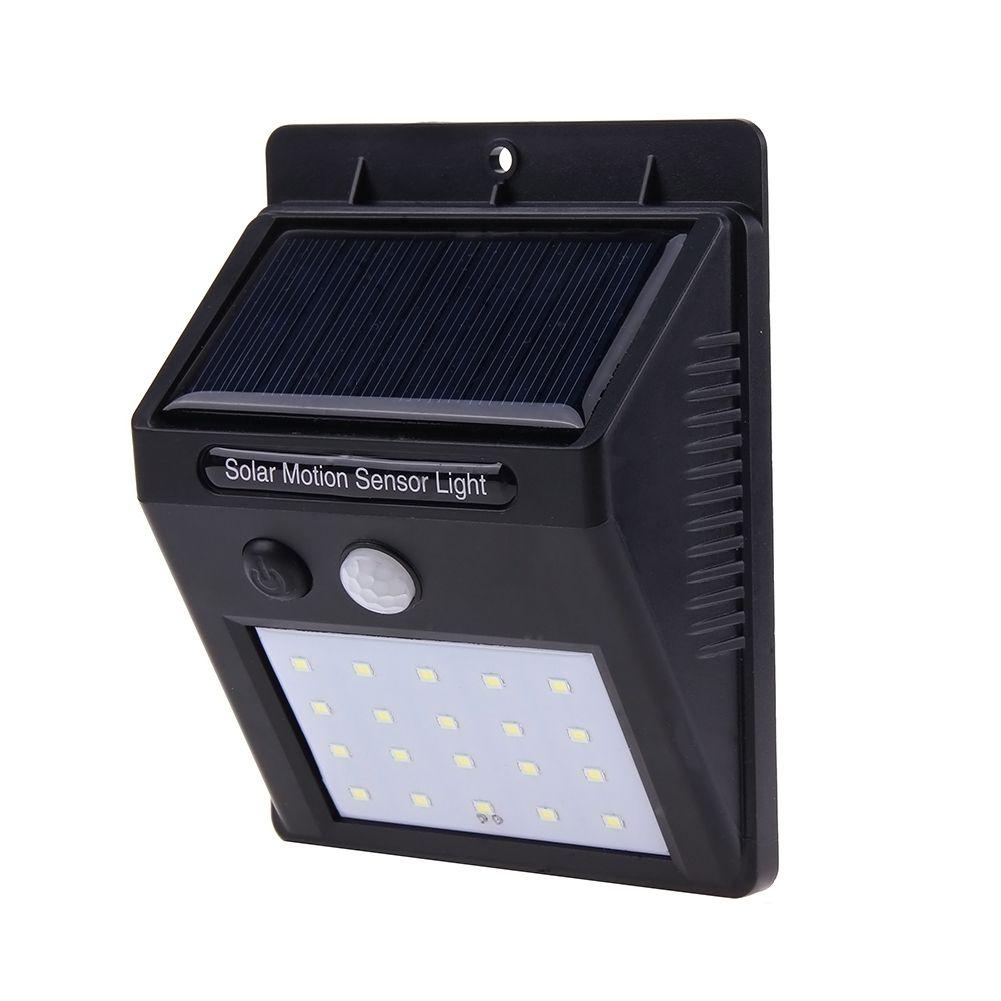 20 LED Solar Powered PIR Motion Sensor Wall Light Lamp Outdoor Waterproof Energy Saving Street Yard Path Garden Security Lights