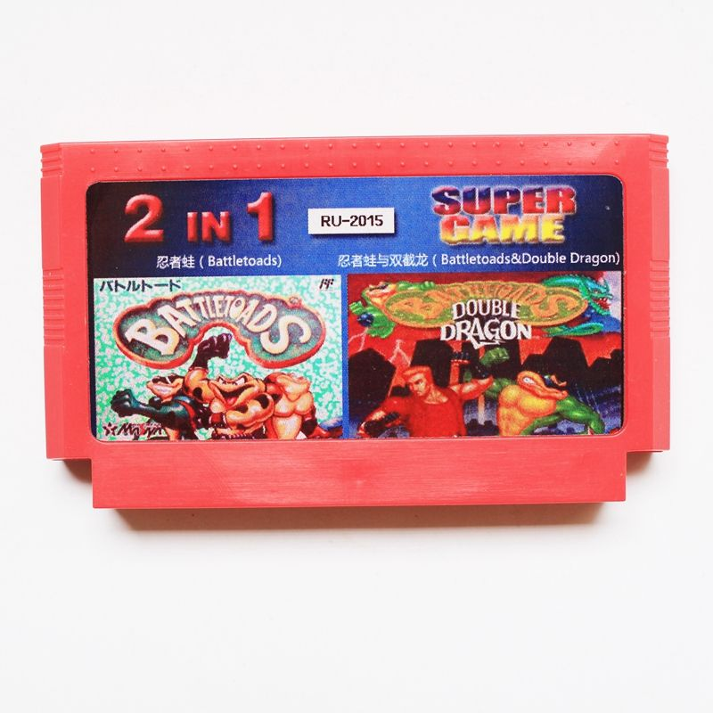 Rare 8 Bit Game Card 2 In 1, battletoads + battletoads & double dragon, Promotion  Russian Language!