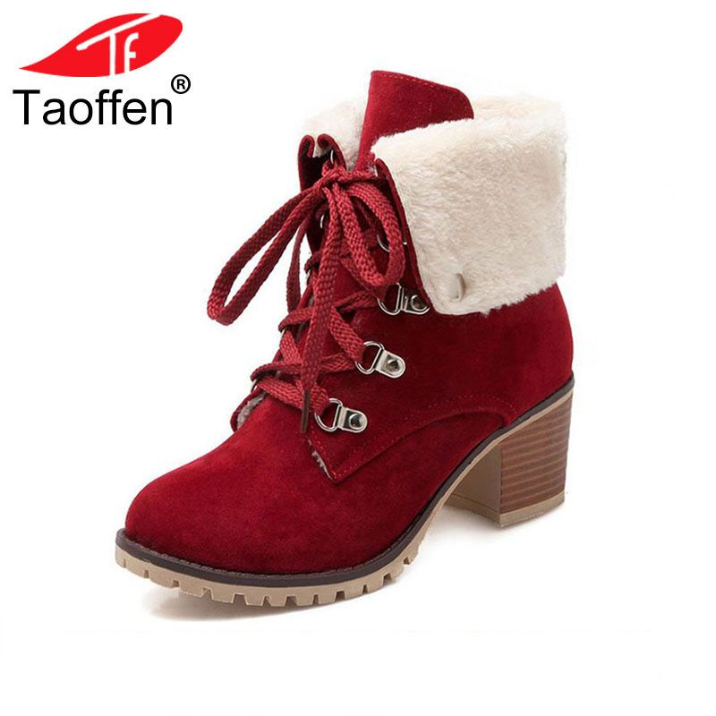 TAOFFEN Size 34-43 Ladies Thick Fur Ankle Boots Women High Heels Short Boots With Fur Shoes Women Winter Warm Botas Footwear