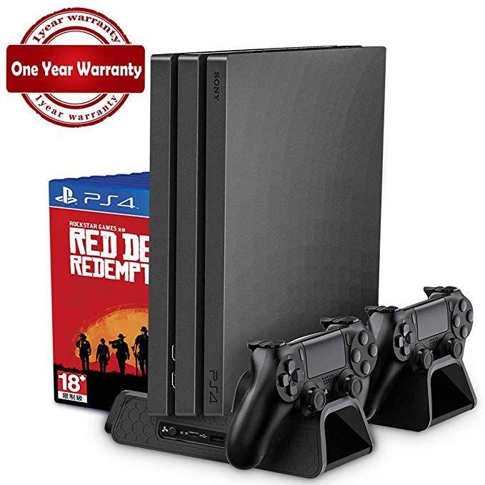 PS4/PS4 Mince/PS4 PRO Vertical Stand avec Ventilateur De Refroidissement Refroidisseur Double Contrôleur Chargeur Station De Recharge pour SONY playstation 4